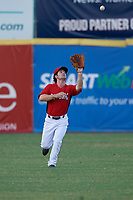 Potomac Nationals outfielder Gage Canning (9) catches a fly ball during a Carolina League game against the Myrtle Beach Pelicans on August 14, 2019 at Northwest Federal Field at Pfitzner Stadium in Woodbridge, Virginia.  Potomac defeated Myrtle Beach 7-0.  (Mike Janes/Four Seam Images)