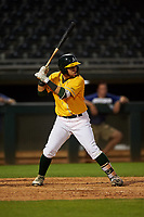 AZL Athletics Gold Rafael Rincones (8) at bat during an Arizona League game against the AZL Rangers on July 15, 2019 at Hohokam Stadium in Mesa, Arizona. The AZL Athletics Gold defeated the AZL Athletics Gold 9-8 in 11 innings. (Zachary Lucy/Four Seam Images)