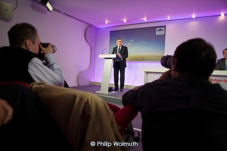 Gordon Brown, Labour Party election campaign press conference, London.