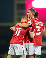 Lincoln City's James Jones, right, celebrates scoring his side's fourth goal with team-mate Anthony Scully<br /> <br /> Photographer Chris Vaughan/CameraSport<br /> <br /> Carabao Cup Second Round Northern Section - Bradford City v Lincoln City - Tuesday 15th September 2020 - Valley Parade - Bradford<br />  <br /> World Copyright © 2020 CameraSport. All rights reserved. 43 Linden Ave. Countesthorpe. Leicester. England. LE8 5PG - Tel: +44 (0) 116 277 4147 - admin@camerasport.com - www.camerasport.com