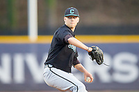 Coastal Carolina Chanticleers relief pitcher Austin Kerr (5) in action against the High Point Panthers at Willard Stadium on March 15, 2014 in High Point, North Carolina.  The Panthers defeated the Chanticleers 11-8 in game two of a double-header.  (Brian Westerholt/Four Seam Images)
