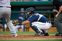 Lakeland Flying Tigers catcher Austin Green (30) awaits the pitch during a game against the Jupiter Hammerheads on April 17, 2017 at Joker Marchant Stadium in Lakeland, Florida.  Lakeland defeated Jupiter 5-1.  (Mike Janes/Four Seam Images)