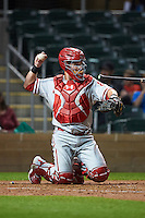 Glendale Desert Dogs catcher Andrew Knapp (8) during an Arizona Fall League game against the Salt River Rafters on October 22, 2015 at Salt River Fields at Talking Stick in Scottsdale, Arizona.  Glendale defeated Salt River 7-5.  (Mike Janes/Four Seam Images)