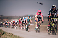 Sep Vanmarcke (BEL/Education First-Drapac) rolling over the 'Plugstreets' in the peloton<br /> <br /> 81st Gent-Wevelgem in Flanders Fields (1.UWT)<br /> Deinze > Wevelgem (251km)