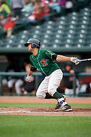 Great Lakes Loons catcher Steve Berman (28) follows through on a swing during a game against the Burlington Bees on May 4, 2017 at Dow Diamond in Midland, Michigan.  Great Lakes defeated Burlington 2-1.  (Mike Janes/Four Seam Images)