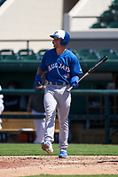 Toronto Blue Jays Will Robertson (9) bats during a Minor League Spring Training game against the Detroit Tigers on April 22, 2021 at Joker Marchant Stadium in Lakeland, Florida.  (Mike Janes/Four Seam Images)