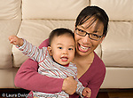 16 month old toddler boy with mother portrait horizontal