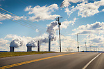 Route 54 with power lines, utility lines, and PPL coal generation power plant.
