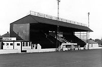 The main stand at Dartford FC, Watling Street, Dartford, Kent, pictured on 30 March 1986