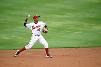 Altoona Curve shortstop Pablo Reyes (27) throws to first base during a game against the New Hampshire Fisher Cats on May 11, 2017 at Peoples Natural Gas Field in Altoona, Pennsylvania.  Altoona defeated New Hampshire 4-3.  (Mike Janes/Four Seam Images)
