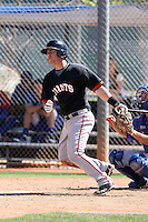 Tommy Joseph of the San Francisco Giants plays in a minor league spring training game against the Chicago Cubs at the Cubs minor league complex on March 29, 2011  in Mesa, Arizona. .Photo by:  Bill Mitchell/Four Seam Images.