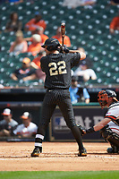 Julian Infante (22) of the Vanderbilt Commodores at bat against the Sam Houston State Bearkats in game one of the 2018 Shriners Hospitals for Children College Classic at Minute Maid Park on March 2, 2018 in Houston, Texas. The Bearkats walked-off the Commodores 7-6 in 10 innings.   (Brian Westerholt/Four Seam Images)