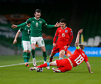 27th March 2021; Aviva Stadium, Dublin, Leinster, Ireland; 2022 World Cup Qualifier, Ireland versus Luxembourg; Laurent Jans (Luxembourg) slides in to challenge Alan Browne (Republic of Ireland)