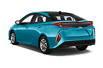 Car pictures of rear three quarter view of a 2017 Toyota Prius Plug-in Hybride Solar 5 Door Hatchback angular rear