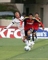 David Beckham defends Javier Morales in the Los Angeles Galaxy vs Real Salt Lake 2-2 draw at Rice Eccles Stadium in Salt Lake City, Utah on May 3, 2008