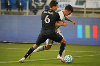 SAN JOSE, CA - SEPTEMBER 5: Shea Salinas #6 of the San Jose Earthquakes battles for the ball with Cole Bassett #26 of the Colorado Rapids during a game between Colorado Rapids and San Jose Earthquakes at Earthquakes Stadium on September 5, 2020 in San Jose, California.