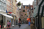 Cobblestone street in Haarlem, Holland, the Netherlands.