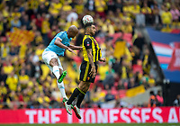 Troy Deeney of Watford & Vincent Kompany of Man City during the FA Cup FINAL match between Manchester City and Watford at Wembley Stadium, London, England on 18 May 2019. Photo by Andy Rowland.<br /> .<br /> Editorial use only, license required for commercial use. No use in betting,<br /> games or a single club/league/player publications.'