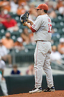 Pitcher Ryan Duke #17 of the Oklahoma Sooners looks for the sign against the Texas Longhorns in NCAA Big XII baseball on May 1, 2011 at Disch Falk Field in Austin, Texas. (Photo by Andrew Woolley / Four Seam Images)
