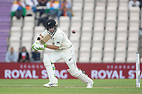 Tom Latham of New Zealand defends into the offside during India vs New Zealand, ICC World Test Championship Final Cricket at The Hampshire Bowl on 20th June 2021
