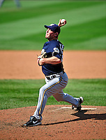 23 August 2009: Milwaukee Brewers' relief pitcher Mark DiFelice on the mound against the Washington Nationals at Nationals Park in Washington, DC. The Nationals defeated the Brewers 8-3 to take the third game of their four-game series, snapping a five games losing streak. Mandatory Credit: Ed Wolfstein Photo