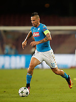 Calcio, Champions League: Napoli vs Benfica. Napoli, stadio San Paolo, 28 settembre 2016.<br /> Napoli's Marek Hamsik in action during the Champions League Group B soccer match between Napoli and Benfica at Naple's San Paolo stadium, 28 September 2016. Napoli won 4-2.<br /> UPDATE IMAGES PRESS/Isabella Bonotto