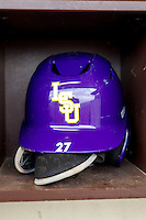 LSU Tigers helmet on April 24, 2015 at Alex Box Stadium in Baton Rouge, Louisiana. LSU defeated Texas A&M 9-6. (Andrew Woolley/Four Seam Images)