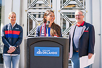 ORLANDO, FL - FEBRUARY 28: Tiffany Roberts Sahaydak speaks during a SheBelieves press conference at City Hall on February 28, 2020 in Orlando, Florida.