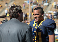 Keenan Allen speaks with the media. The University of California Berkeley Golden Bears defeated the UC Davis Aggies 52-3 in their home opener at Memorial Stadium in Berkeley, California on September 4th, 2010.