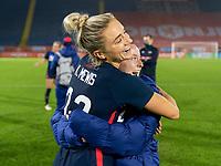 BREDA, NETHERLANDS - NOVEMBER 27: Kristie Mewis #22 hugs Rose Lavelle #16 of the USWNT after a game between Netherlands and USWNT at Rat Verlegh Stadion on November 27, 2020 in Breda, Netherlands.