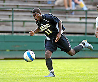 17 October 2007: The University of Maryland Retrievers' Levi Houapeu, a Freshman from Germantown, MD, in action against the University of Vermont Catamounts at Historic Centennial Field in Burlington, Vermont. The Catamounts and Retrievers battled to a scoreless, double-overtime tie...Mandatory Photo Credit: Ed Wolfstein Photo