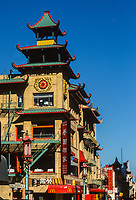 San Francisco, California, Chinatown. Chinese Architecture, Corner of Grant Street and California.