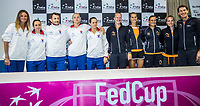 Bratislava, Slovenia, April 21, 2017,  FedCup: Slovakia-Netherlands, Draw ceremony, Team Slovakia (L) and The Netherlands<br /> Photo: Tennisimages/Henk Koster