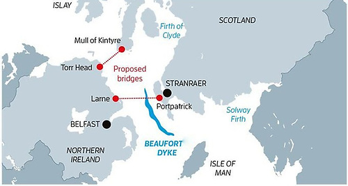 Fixed connections across the North Channel have to withstand the problems of storms, extremely powerful tides, exceptionally varied water depths, and the remoteness and lack of connectivity of terminals on the Scottish side, making it a very rewarding area for Feasibility Studies.