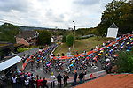 The peloton climb Mur de Huy during La Fleche Wallonne 2020, running 202km from Herve to Mur de Huy, Belgium. 30th September 2020.<br /> Picture: ASO/Gautier Demouveaux   Cyclefile<br /> All photos usage must carry mandatory copyright credit (© Cyclefile   ASO/Gautier Demouveaux)