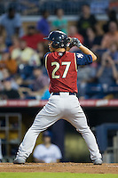 Rob Refsnyder (27) of the Scranton/Wilkes-Barre RailRiders at bat against the Durham Bulls at Durham Bulls Athletic Park on May 15, 2015 in Durham, North Carolina.  The RailRiders defeated the Bulls 8-4 in 11 innings.  (Brian Westerholt/Four Seam Images)