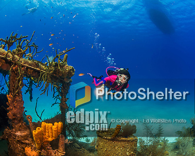 20 June 2016: SCUBA Diver Sally Herschorn explores the Wreck of the Doc Poulson off the shores of 7-Mile Beach on the West side of Grand Cayman Island. Located in the British West Indies in the Caribbean, the Cayman Islands are renowned for excellent scuba diving, snorkeling, beaches and international banking.  Mandatory Credit: Ed Wolfstein Photo *** RAW (NEF) Image File Available ***