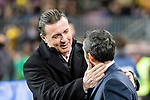 Manager Cristobal Parralo Aguilera of RC Deportivo La Coruna (L) catering with FC Barcelona Head Coach Ernesto Valverde (R) during the La Liga 2017-18 match between FC Barcelona and Deportivo La Coruna at Camp Nou Stadium on 17 December 2017 in Barcelona, Spain. Photo by Vicens Gimenez / Power Sport Images