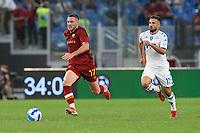 3rd October 2021; Stadio Olimpico, Rome, Italy; Serie A football, AS Roma versus Empoli; Jordan Veretout outpaces Federico Di Francesco of FC Empoli
