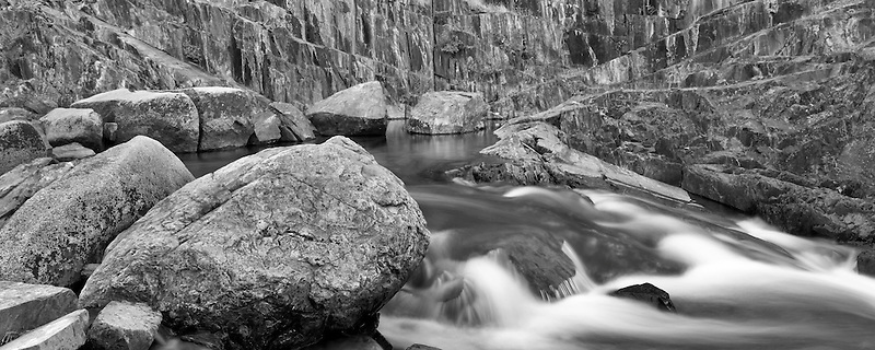 Glen Alpine Creek and multi colored rock wall. California