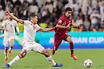 Akram Hassan Afif of Qatar (R) fights for the ball with Ismail Ahmed Mohamed of United Arab Emirates (L) during the AFC Asian Cup UAE 2019 Semi Finals match between Qatar (QAT) and United Arab Emirates (UAE) at Mohammed Bin Zaied Stadium  on 29 January 2019 in Abu Dhabi, United Arab Emirates. Photo by Marcio Rodrigo Machado / Power Sport Images