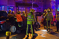 Trapped motorist has to be cut free from crashed car  Fire service rescue Grantham Road Birmingham No fatality's