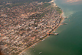 Itaituba, Brazil. Aerial view of the town and the Tapajos River.