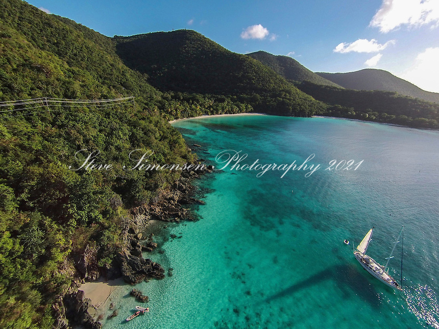 Aerial view of Gibney and Hawksnest Beaches<br /> Two Butt Beach in the foreground<br /> Virgin Islands National Park<br /> St. John<br /> U.S. Virgin Islands