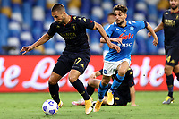 Marko Pjaca of Genoa CFC and Dries Mertens of SSC Napoli  compete for the ball during the Serie A football match between SSC Napoli and Genoa CFC at San Paolo stadium in Napoli (Italy), September 27th, 2020. Photo Cesare Purini / Insidefoto