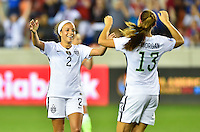 Houston, TX. - February 19, 2016: The U.S. Women's National team take a 2-0 lead over Trinidad & Tobago during first half action in CONCACAF Women's Olympic Qualifying at BBVA Compass Stadium.