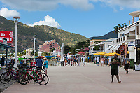 Philipsburg, Sint Maarten.  Boardwalk Street Scene.