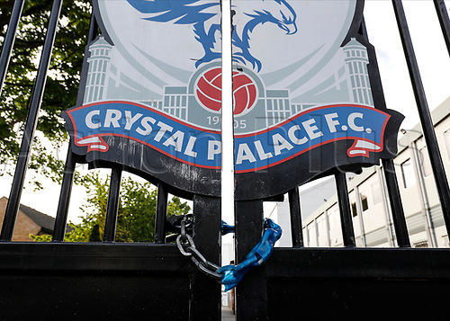 9th May 2020, Selhurst Park, London, England; Stadium deserted during the lockdown for the Covid-19 virus; Chained lock on the main gates outside Selhurst Park