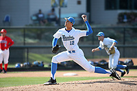 Justin Hooper (12) of the UCLA Bruins pitches against the Arizona Wildcats at Jackie Robinson Stadium on March 19, 2017 in Los Angeles, California. UCLA defeated Arizona, 8-7. (Larry Goren/Four Seam Images)
