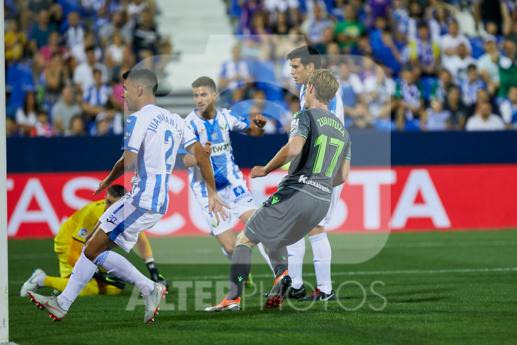 Real Sociedad's David Zurutuza celebrate goal during La Liga match. August 24, 2018. (ALTERPHOTOS/A. Perez Meca)